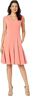 Women's Scuba Crepe Scallop Neck Fit & Flare Dress