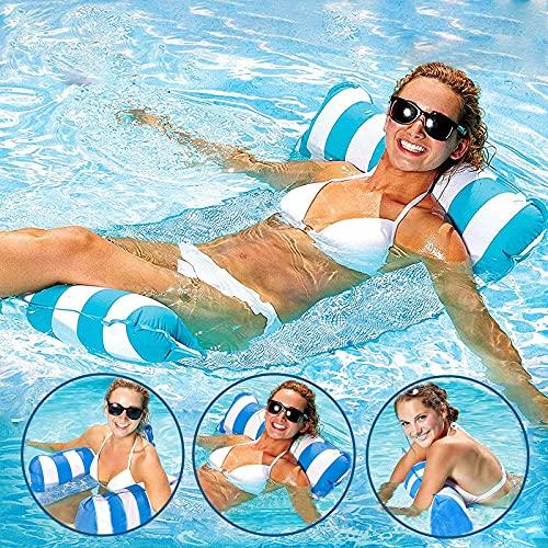 Aufblasbare Hängematte,4 in 1 Luftmatratze Floating Lounge Stuhl für Erwachsene,Wasserspielzeug Pool Wasserhängematte Pool Lounge luftmatratze