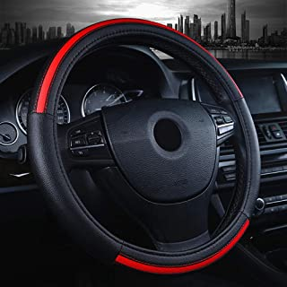 Labbyway Car Steering Wheel Cover Microfiber Leather Universal 15-inch,Anti-Slip,Odorless,Four Seasons Universal (Red)