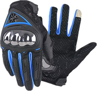 HAOSHUAI Touch Screen Ademende Motorfiets Ademende Volledige Vinger Handschoenen Klimmen Wandelen Fietsen Outdoor Sporten, Meerdere kleuren Ridding handschoenen (Kleur : Blauw, Maat : M)