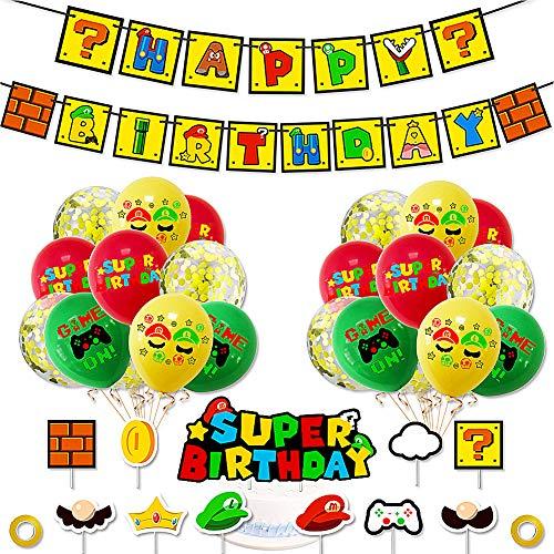 BESTZY Super Mario Decoración para Fiestas de Cumpleaños 34PCS Super Mario Bros para fiesta de cumpleaños Tarjetas de Tarta Adornos de Casa para Fiestas