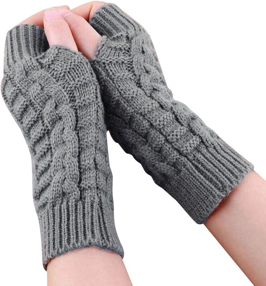 Knitted Arm Fingerless Winter Gloves,Alalaso Fashion Unisex Soft Warm Mitten