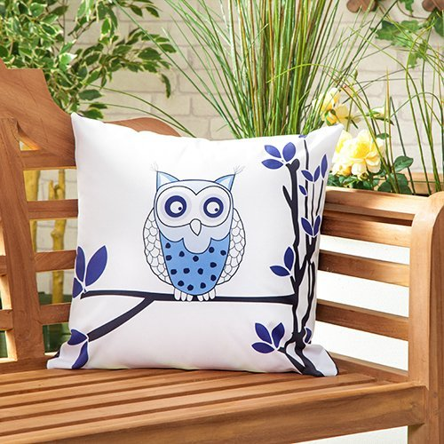 """Shopisfy Outdoor Water Resistant Filled 18"""" Scatter Cushion for Garden Furniture, Owls Design"""