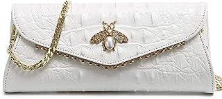 Luxuriöse Abend-Clutch für Damen, mit Honigbienen-Charm, weiblich, echtes Leder, Schultertasche
