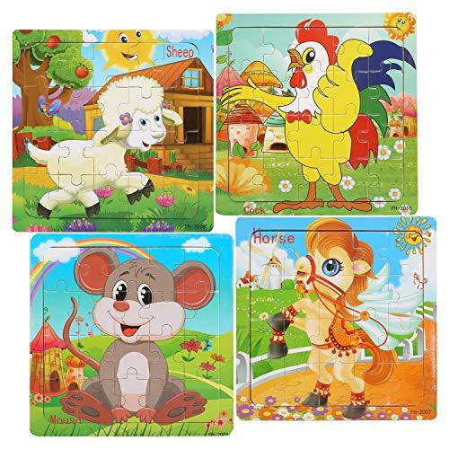 LEADSTAR Giocattoli in Legno Puzzle, Animali Jigsaw Puzzle in Legno Giocattolo 20-Pezzi di Puzzle Educativo Giocattoli Giochi Set Regalo per 2+ Anni i Bambini, Foresta Animali Set di 4