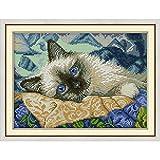 Punto de Cruz La Alegría Domingo Ojos Azules Gato Kits De Punto De Cruz De Algodón Ecológico China con Sello Impreso 14 11CT Decoración De La Boda De Bricolaje For El Hogar