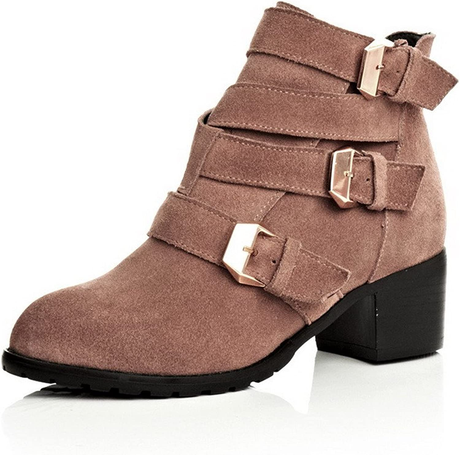 WeiPoot Women's Frosted Solid Closed-Toe Boots with Rough Heels