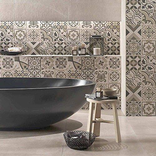 72 Piezas Azulejo Adhesivo 10x10 cm - PS00154 - Mosaico de Azulejos Adhesivo de Pared Adhesivo Decorativo para Azulejos de Cemento para baño y Cocina Adhesivos de Cemento pelar y Pegar