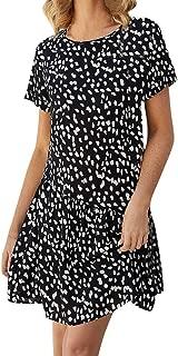 Mrinb Vestido de Verano para Mujer Mini Vestido Floral Vestido de Manga Corta con Volantes y Cuello en V