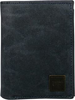 CANVAS & AWL Waxed Canvas & Leather Slim Bifold Wallet for Mens/Boys (DARK BLUE)