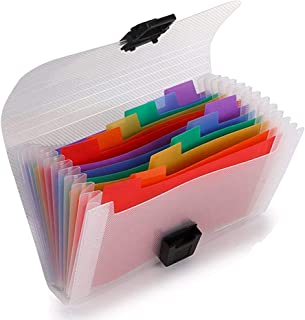 13 Pockets Accordion File Organizer - A6 Plastic Wallet for Receipt, Coupons, Cards, Mini Expandable Portable Small Folder(7X4.1 inches)
