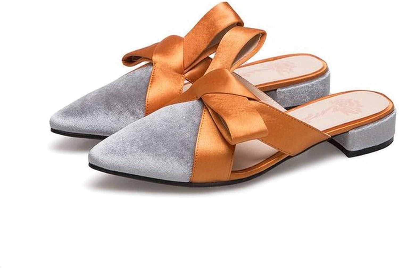 Yeenvan Big Velvet Bow Sandals Women Pointed Toe Slippers Bowtie Mules Ladies Summer shoes Sandalias women
