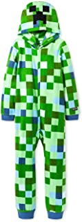 Minecraft Charged Creeper Fleece Hooded Union Suit Boys Pajamas 4-16 by AME