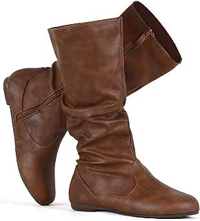 Women's Slouchy Mid Calf Boots Zip up Flat Boots
