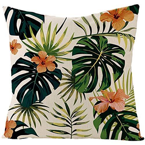 Socoz Funda de cojín dorada, ropa modelo de flores y hojas, naranja y verde, fundas de almohada