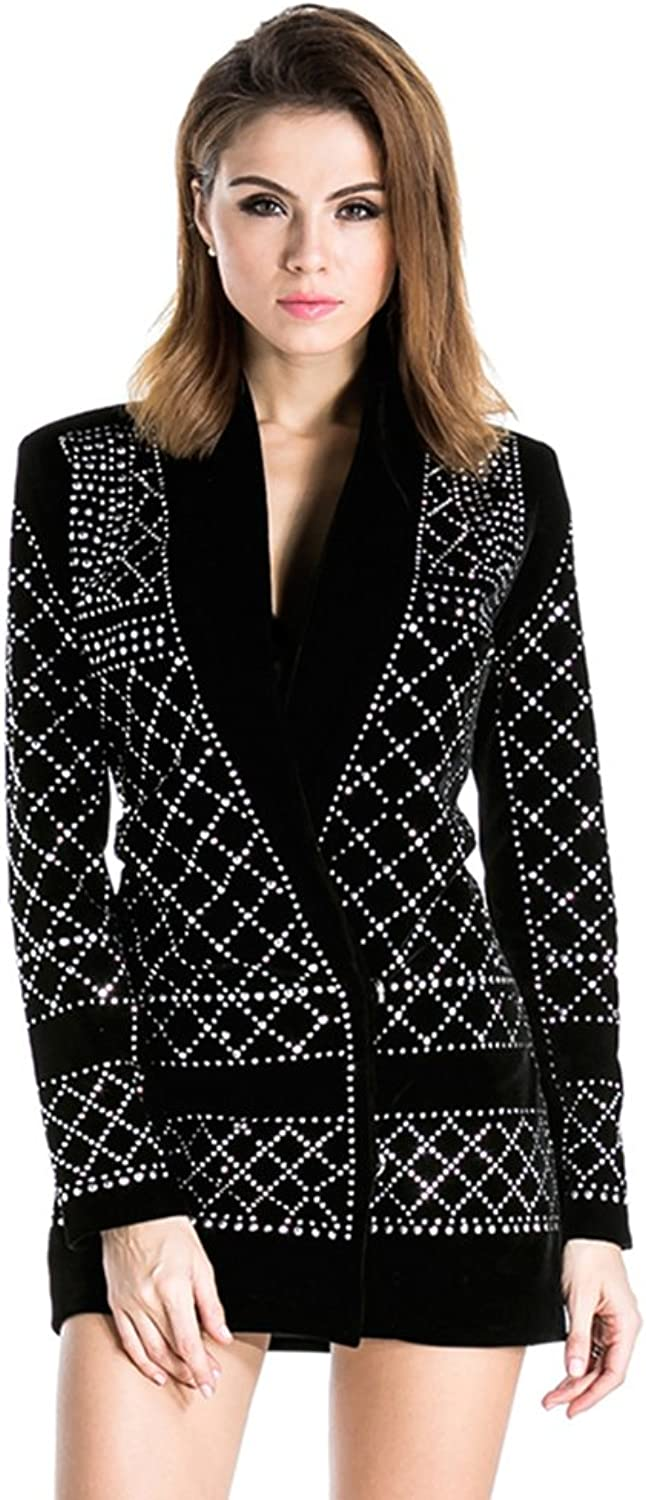 Miss ord Women's V Neck Studded Slim Business Casual Long Top Dress Jackets