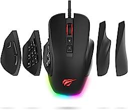 Mouse Havit Gaming 12000 DPI computador ergonômico mouse com fio com 14 botões programáveis placas laterais intercambiávei...