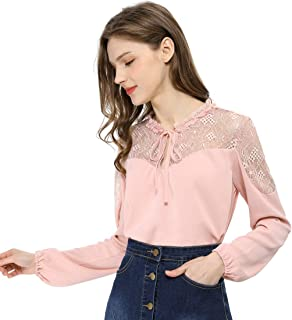 Allegra K Women`s Elegant Lace Self Tie Neck Ruffle Lightweight Chiffon Long Sleeve Blouse Top