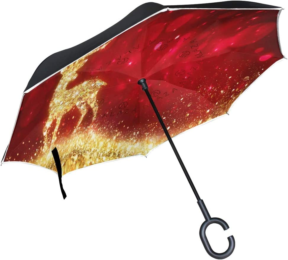 Pfrewn Merry Christmas Gold Houston Mall Umbrella Reindeer Quantity limited Inverted Snowflake
