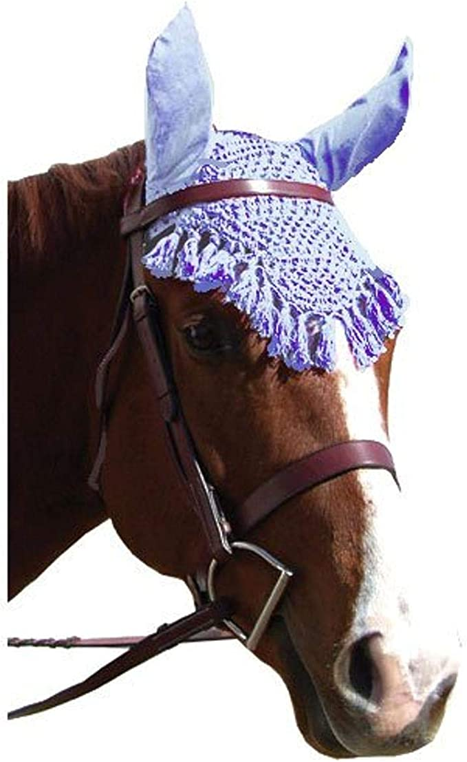 FLY VEIL HORSE EAR NET CROCHET EQUESTRIAN WITH PIPING GREY COLOR FULL//COB//PONY