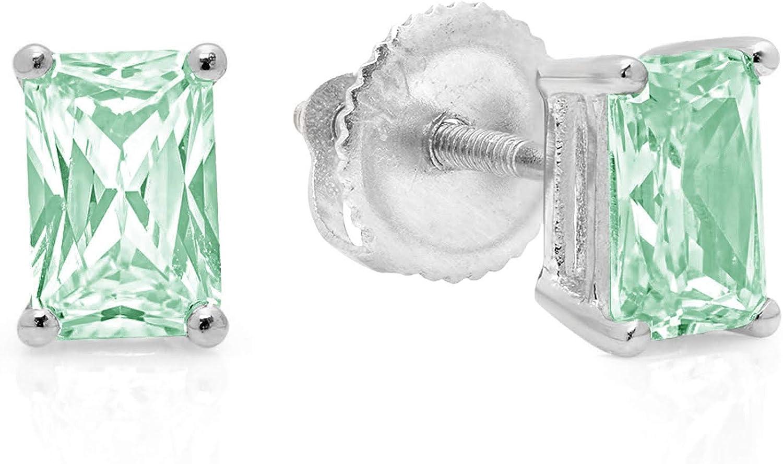 2.0 ct Emerald Cut ideal VVS1 Conflict Free Gemstone Solitaire Davidsonite Mint Green Nano CZ Designer Stud Earrings Solid 14k White Gold Screw Back