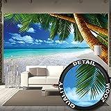 Great Art Fototapete – Strand Palmen – Wandbild Dekoration Karibik Traumstrand Bucht Paradies Natur Insel Palmen Tropen Blauer Himmel Sommer Tapete Wandtapete Fotoposter Wanddeko (336 x...