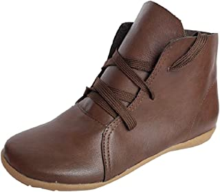 LowProfile Women Vintage Boho Bohemian Soft Leather Short Boots Lace up Round Toe Ankle Booties