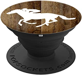 Track Race Horse Silhouette on Brown Background PopSockets Grip and Stand for Phones and Tablets