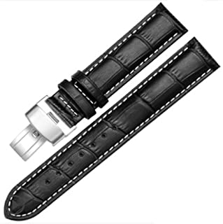 18-24mm New Genuine Leather Silver Quick Release Clasp Wrist Watch Bands Strap Replacement for Gents Mens