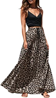 Womens Maxi Skirt Leopard Print Chiffon Beach Pleated High Waisted A-Line Long Skirts