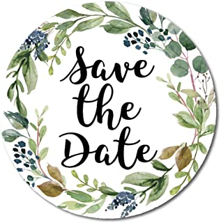 Darling Souvenir Round Rustic Leaf Border Save The Date Stickers Pack of 45 Pcs Gift-1.6 Inches