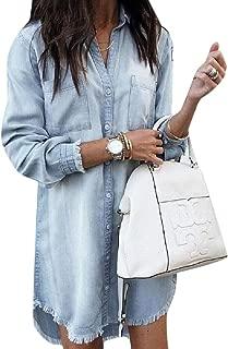 Women Long Sleeve Button Down Denim Shirt Tunic Dresses Tassels Pocket Mini Dress