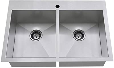 American Standard 18DB.9332211.075 Edgewater Zero Radius Dual Mount 33x22 Double Bowl w/grid and drain, Stainless Steel