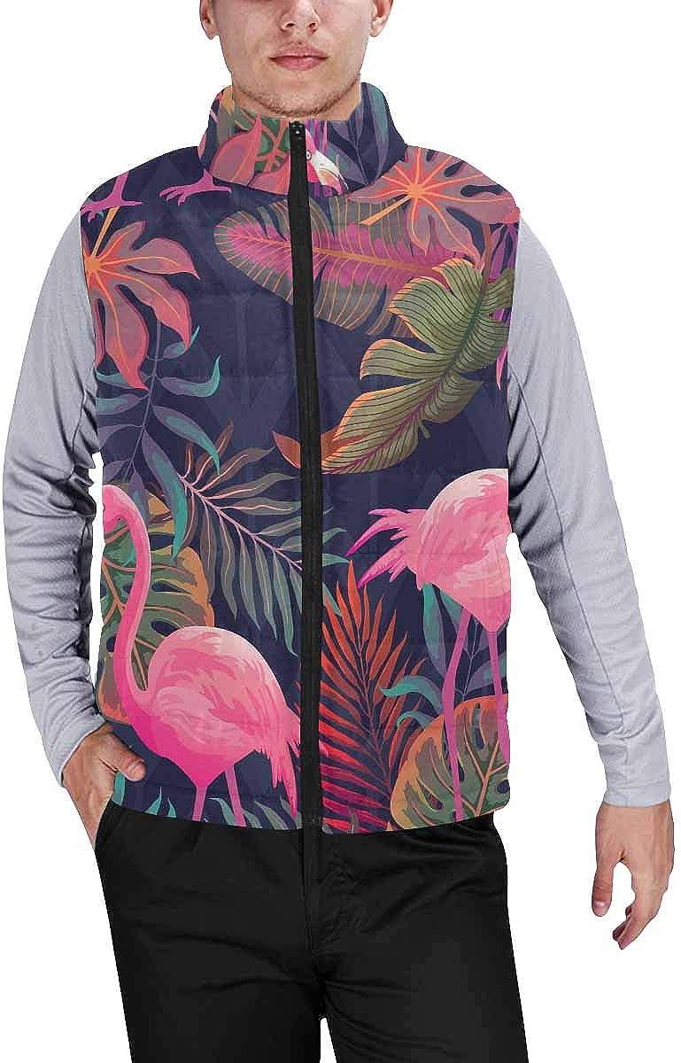 InterestPrint Men's Winter Warm Outdoor Padded Puffer Vest Flamingo Happy Christmas