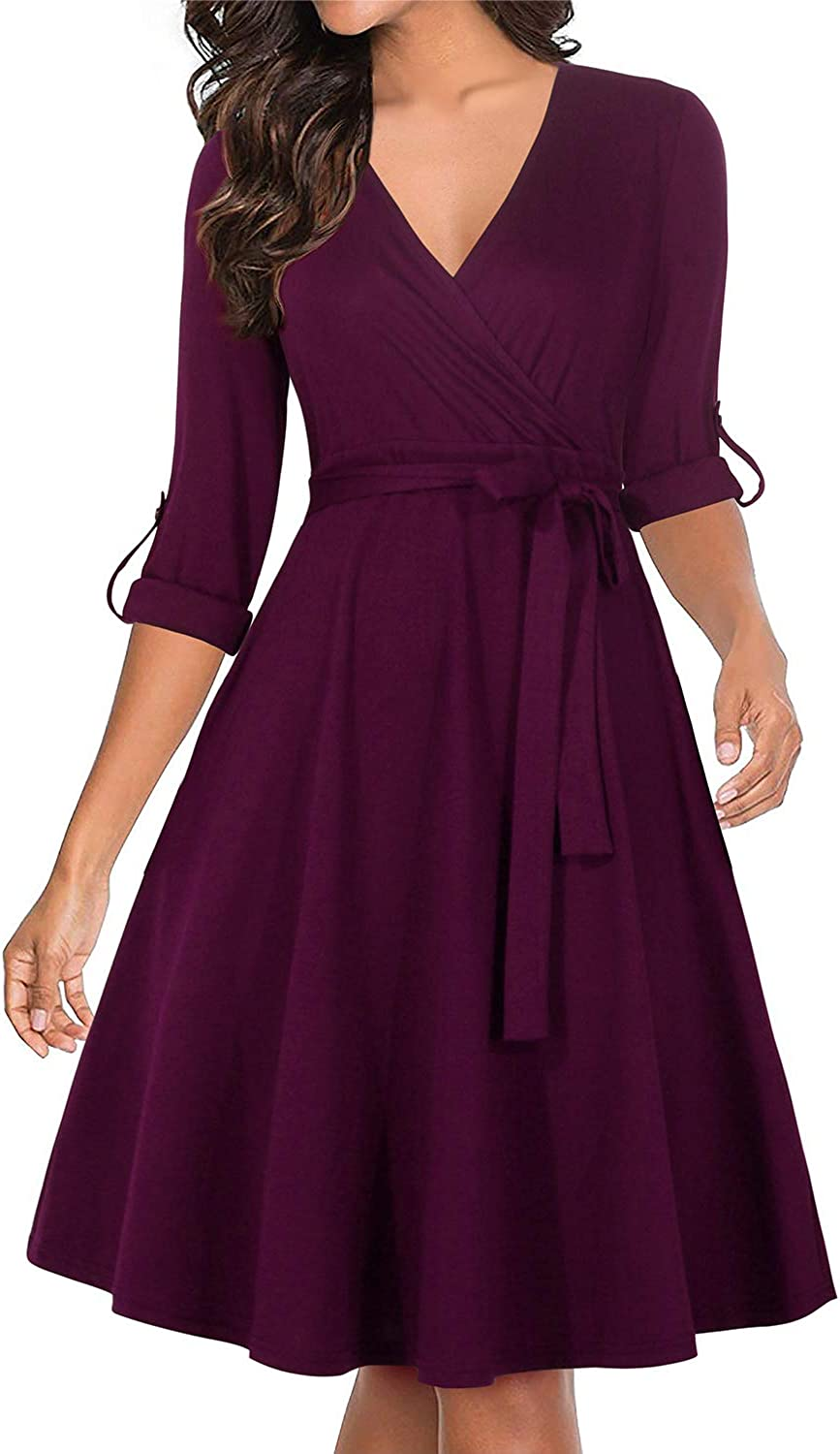 Manydress Women's V Neckline Ranking TOP18 Fit and shipfree Swing Co Midi Vintage Flare