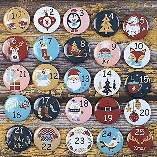 DAHI Adventskalender Zahlen Buttons Nummer 1-25zum Weihnachtskalender selber basteln für Jutesäckchen, Anstecker Nadeln (25bunt)