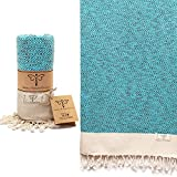 Smyrna Vintage Series Original Turkish Beach Towel | 100% Cotton, Prewashed, 37 x 71 Inches | Turkish Bath Towel for SPA, Beach, Pool, Gym and Bathroom (Turquoise)