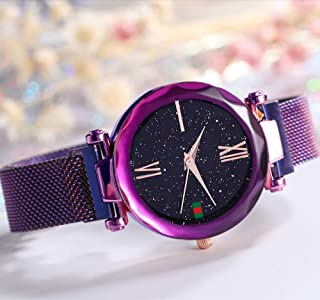 Ladies Analog Quartz Watch Shining Starry Dial Watch for Women and Girls