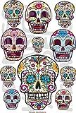 AWS 11 pegatinas de calaveras y flores mexicanas de Sugar Skulls impermeables mexicanas para coche o moto, en 2 formatos adhesivos de vinilo (folio A4)