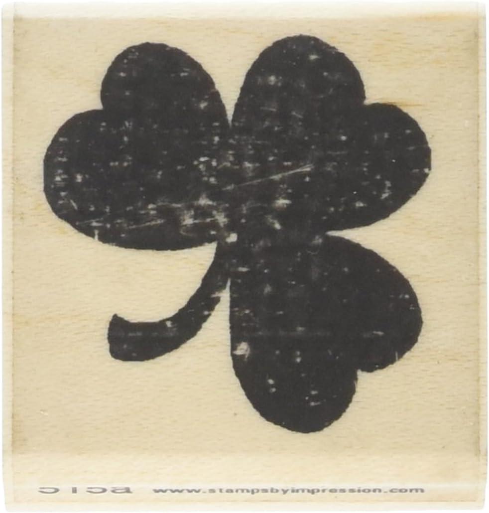 0.5 x 0.5 Shamrock Wooden Rubber Stamp