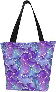 Lesif Einkaufstaschen, Aquarell Meerjungfrau in lila und blau, Segeltuch, Schultertasche, Einkaufstasche, wiederverwendbar, faltbar, Reisetasche, groß und langlebig, robuste Einkaufstaschen
