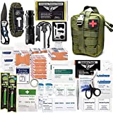 ASA Techmed 250 Pieces Survival First Aid Kit IFAK Molle System Compatible Outdoor Gear Emergency Kits Trauma Bag for Camping Boat Hunting Hiking Home Car Earthquake and Adventures (Military Green)