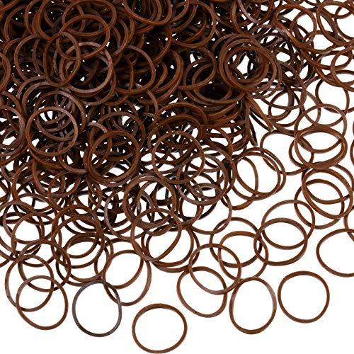 1000 Mini Rubber Bands Soft Elastic Bands for Kid Hair Braids Hair (Dark Brown)