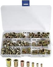 120pcs Carbon Steel Rivet Nuts Threaded Insert Nutsert 5 Sizes 8-32/10-24/1/4