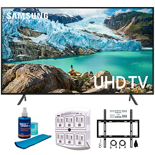 SAMSUNG 65' RU7100 LED Smart 4K UHD TV 2019 Model (UN65RU7100FXZA) with Flat Wall Mount Kit Ultimate Bundle for 45-90 inch TVs, Screen Cleaner for LED TVs & SurgePro 6-Outlet Surge Adapter