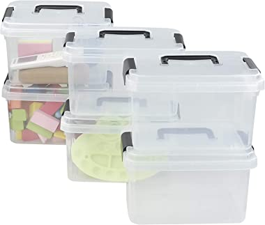 Readsky Plastic Small Transparent Storage Bin Container Box with Black Handles, 6 Packs