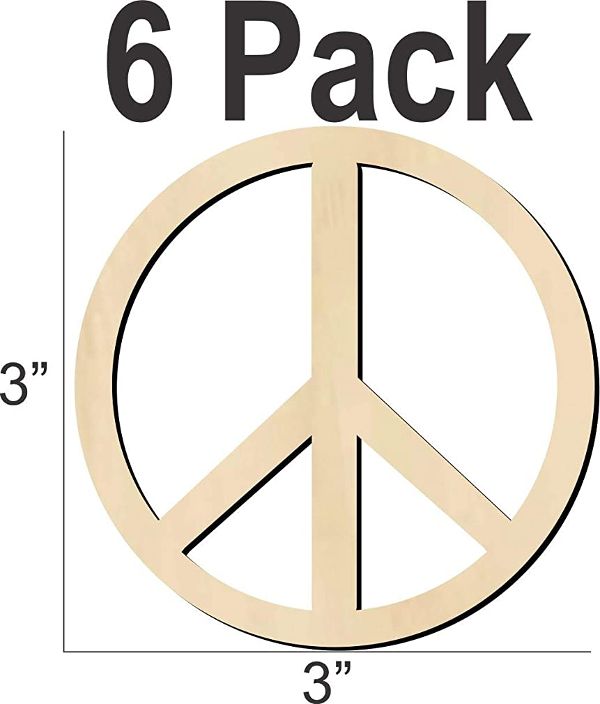 Wooden Peace Sign is 3 inches USA Made, Baltic Birch Unfinished Wood uaqrefk735078