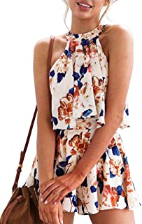 7f77433d3d85 Rompers for Women Summer Casual Floral Short Jumpsuits Sleeveless Playsuit  2 Piece Outfits