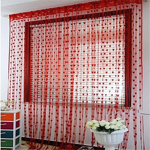 cortinas salon rojas. de. corazones