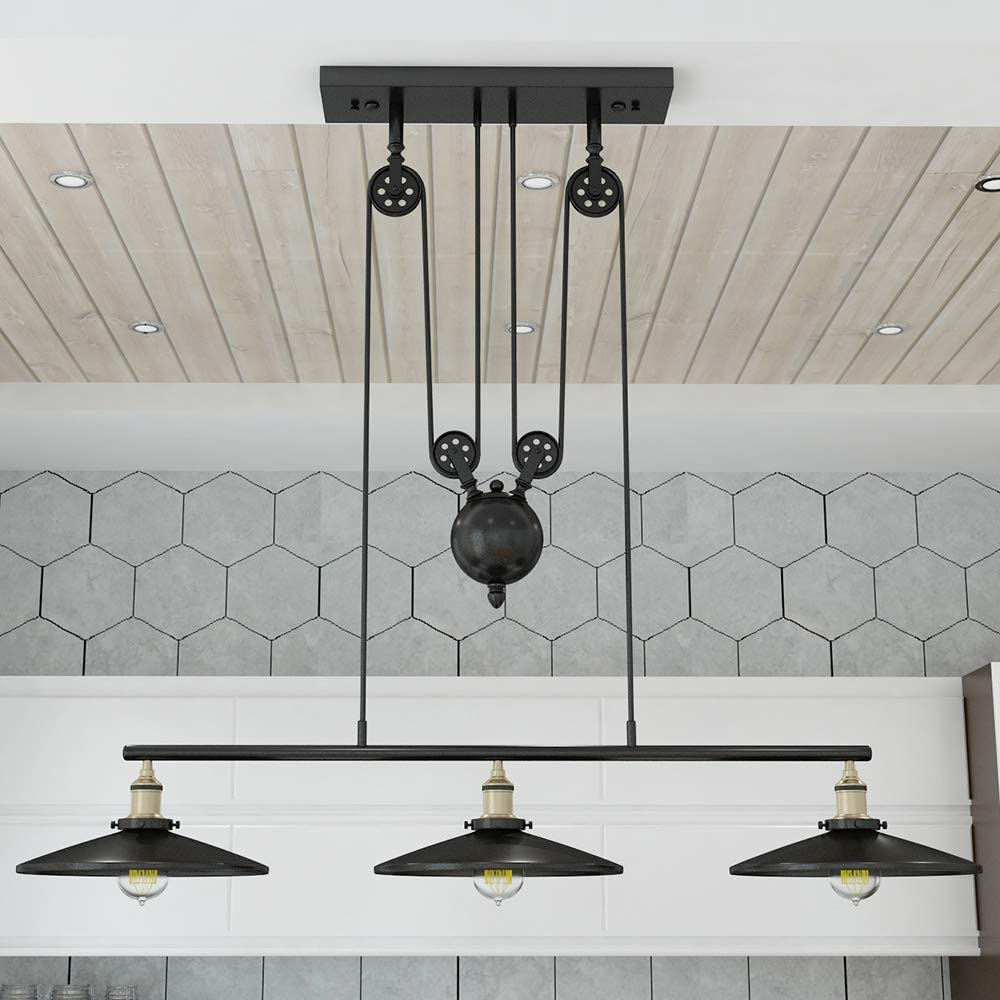 WINSOON Industrial Vintage Chandeliers Pulley 9 Light Pendant Lighting  Fixture for Pool Table Farmhouse Kitchen Island Bar Retro Hanging Lamp 9  Heads ...